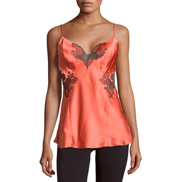 4eadc53567 Josie Natori Lillian Silk Camisole Top Lace Cami
